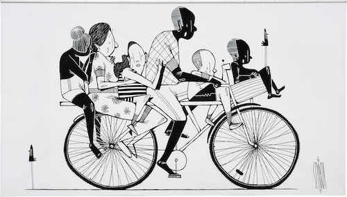 Alex Senna painting Family on a bike Straat International Street Art Museum