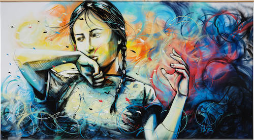 Alice Pasquini painting Electra Straat International Street Art Museum
