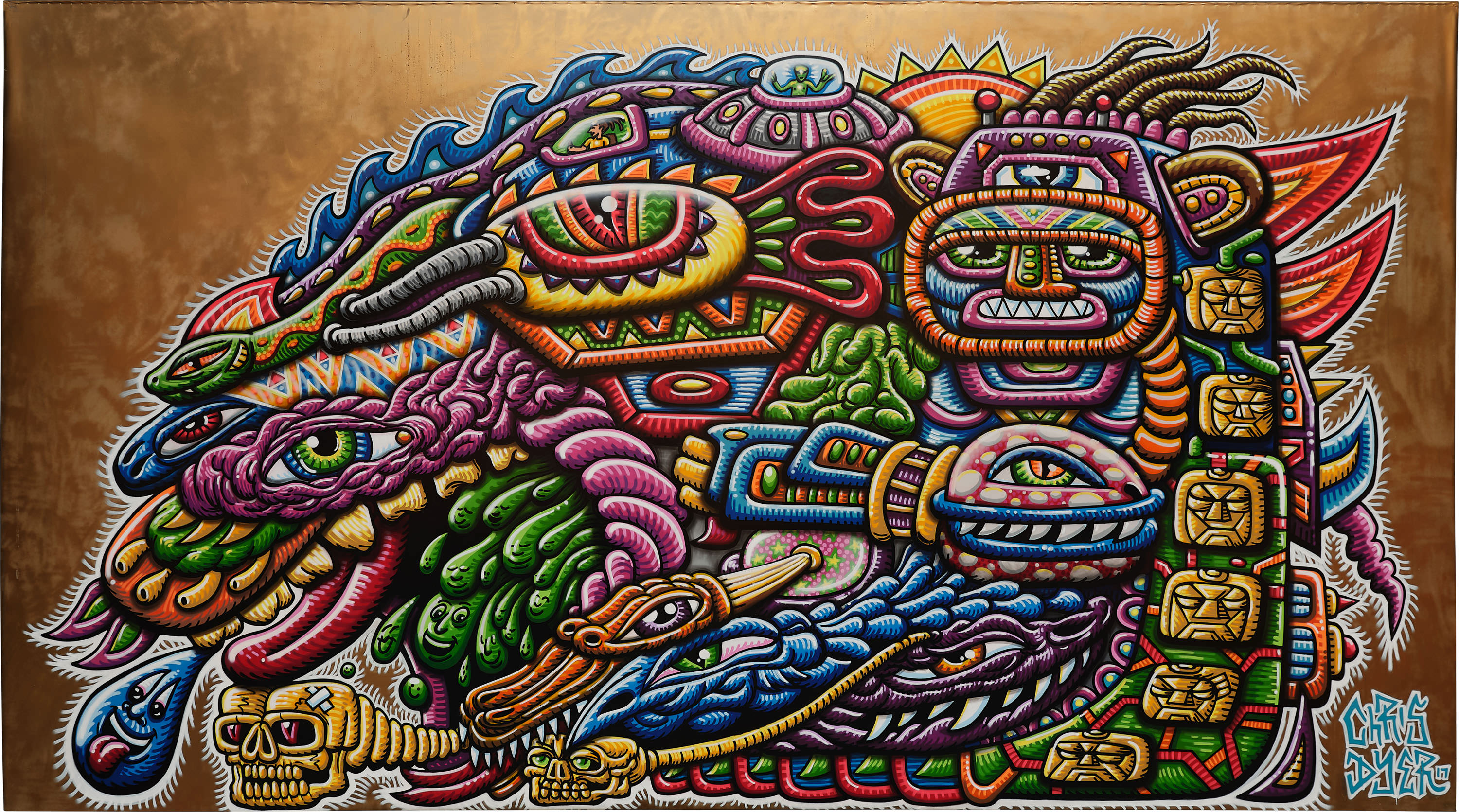 Chris Dyer painting Shamanic journey Straat international street art museum