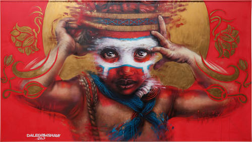 Dale Grimshaw painting Pride & Joy Straat International Street Art Museum