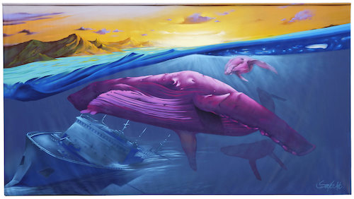 Seyb painting pink whale Straat international street art Museum