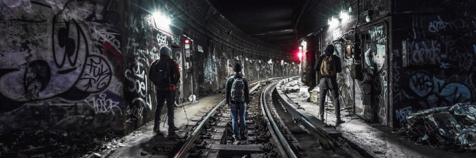 Subway tunnel in New York covered with graffiti